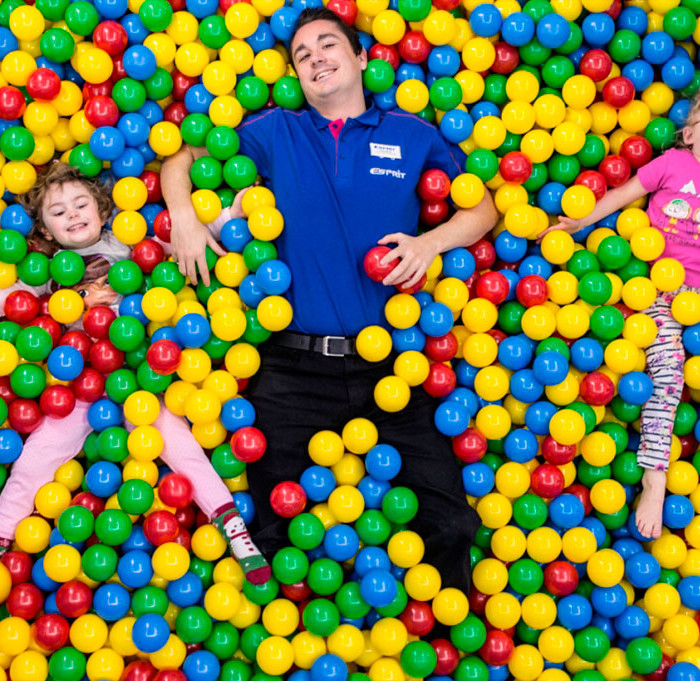 Ball Pool Pitt with staff member and children