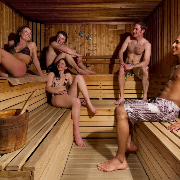 crystal 2000 chalet hotel sauna with people relaxing